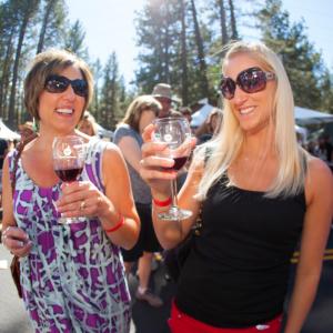 Friends enjoy tasty wine at Sample the Sierra
