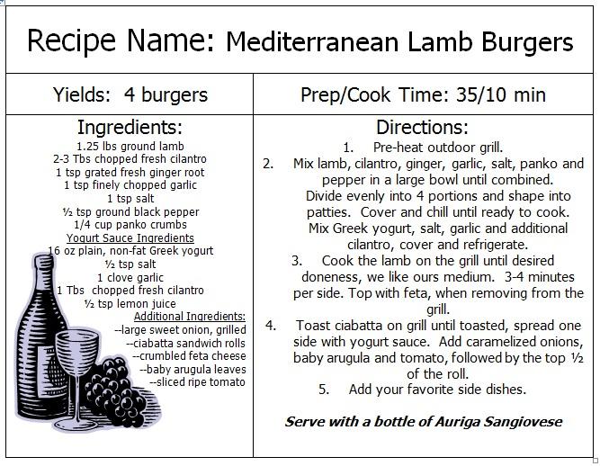 Mediterranean Lamb Burger Recipe - Auriga Wines