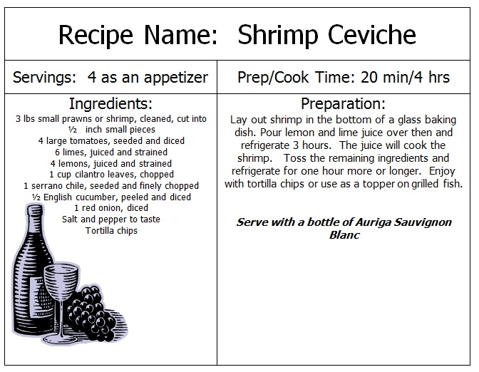 Shrimp Ceviche Recipe - Auriga Wines