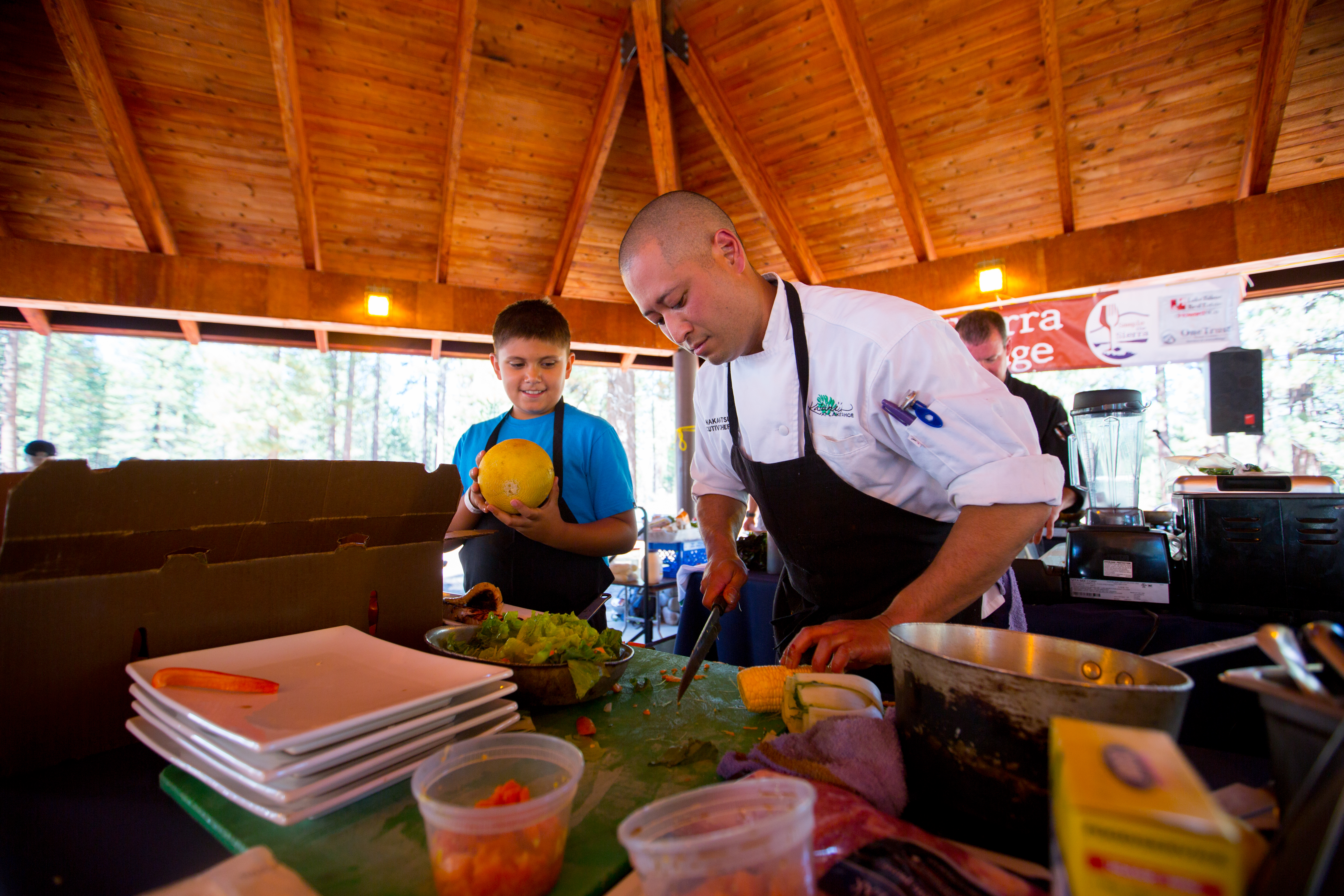 Help from a friend during the Sierra Chef Challenge
